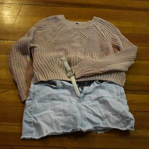 Pink H&M cropped sweater